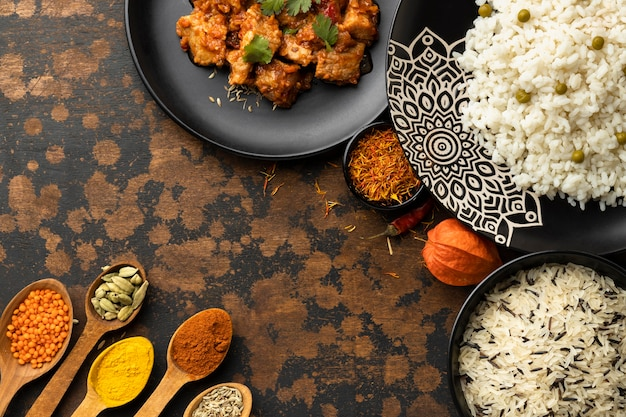 Flat lay indian dishes and spices