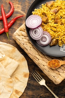 Flat lay indian food and peppers