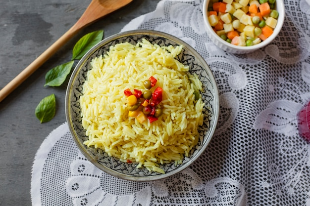 Flat lay indian rice dish