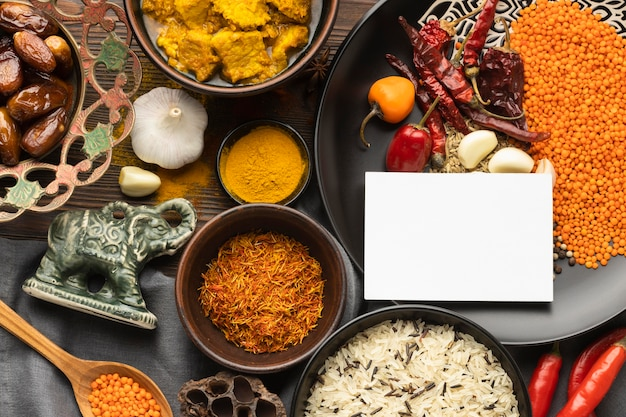 Flat lay indian spices arrangement
