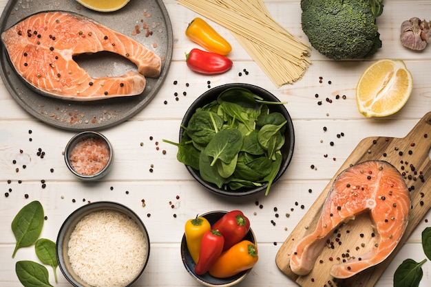 Flat lay ingredients with salmon steak