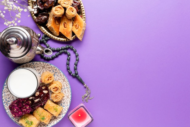Flat lay islamic festive table