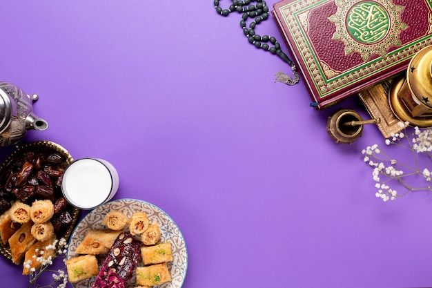 Flat lay islamic new year concept with copy space