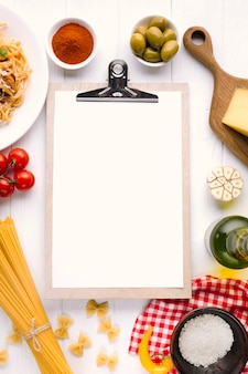Flat lay italian food composition with clipboard template