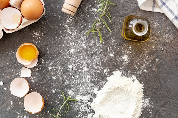 Flat lay of italian ingredients on plain background