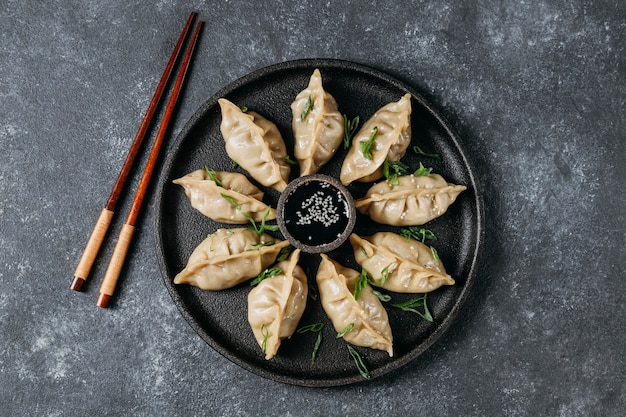 Flat lay japanese dumplings assortment
