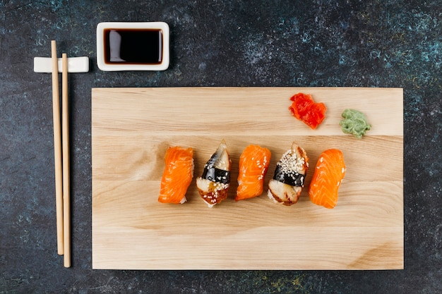 Flat lay japanese sushi arrangement