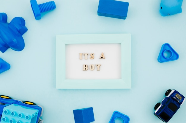 Flat lay kids toys with frame