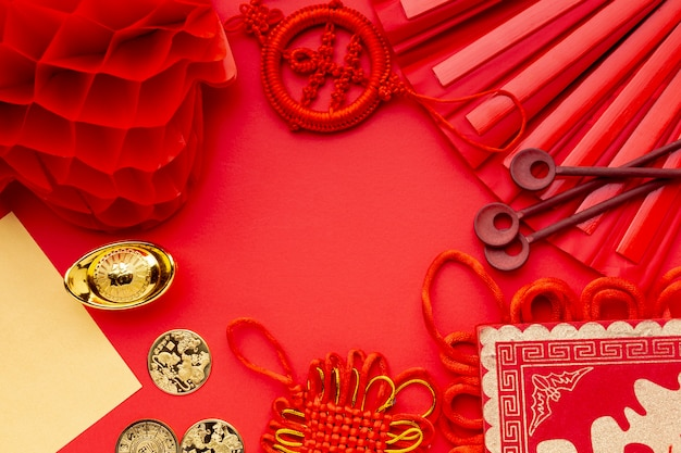 Flat lay of lantern and fan chinese new year