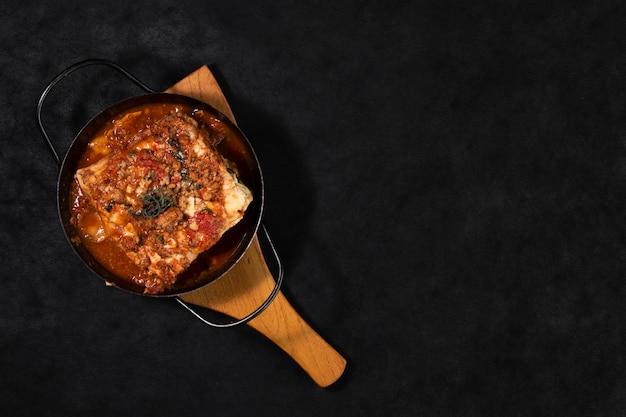 Flat lay lasagna dish