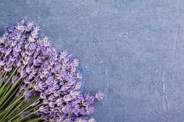 Flat lay lavender flowers in a bun on a dark textured background with a copy space