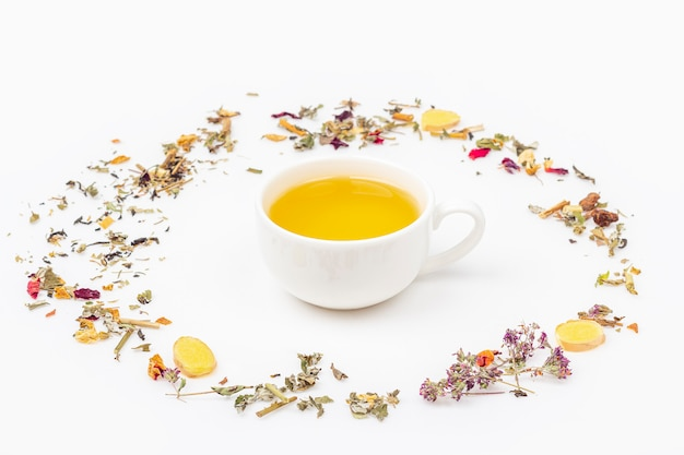 Flat lay layout of cup of green tea with assortment of different dry tea leaf and ginger on white background, copy space for text. organic herbal, green asian tea for the tea ceremony.