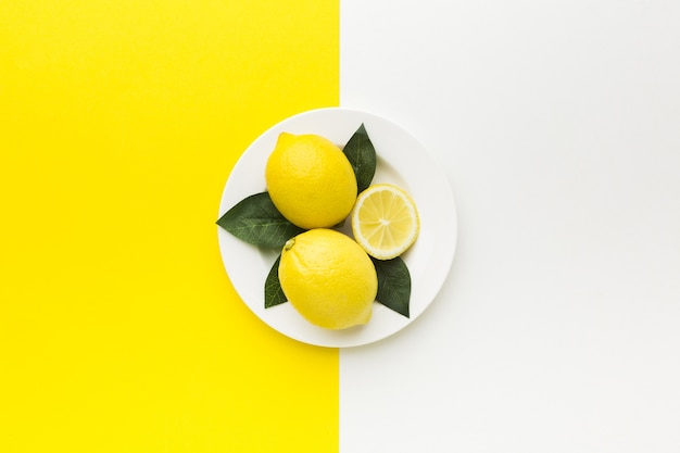 Flat lay of lemon concept with copy space