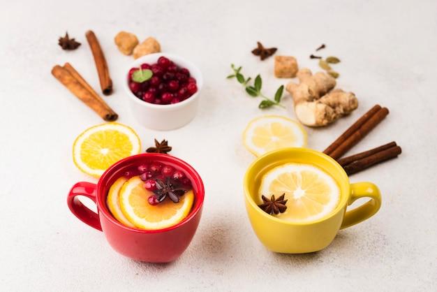 Flat lay lemon tea flavor and fruits