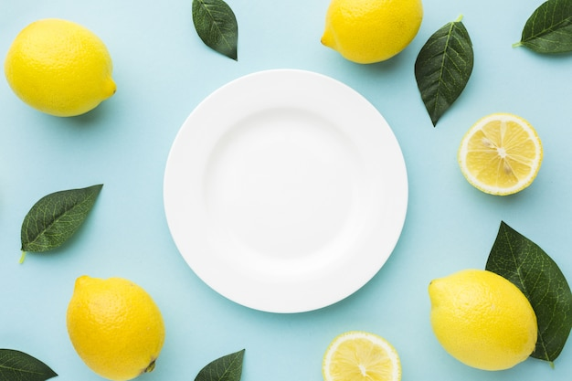Flat lay of lemons with copy space