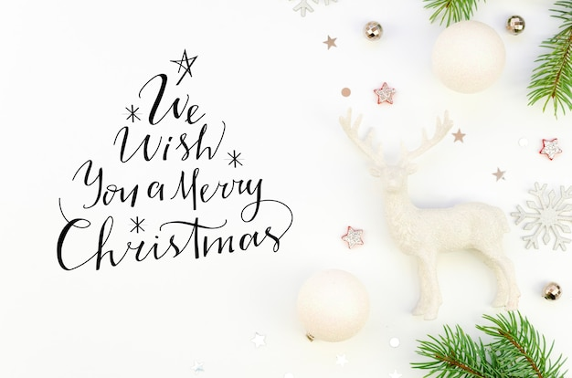 Flat lay lettering we wish you a merry christmas sign text