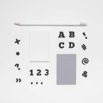 Flat lay letters and business cards
