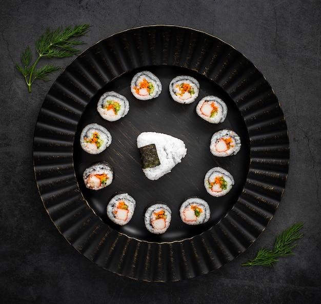 Flat lay maki sushi with rice