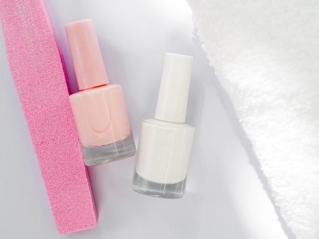 Flat lay manicure tools
