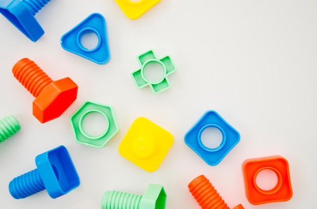 Flat lay matching toys for kids
