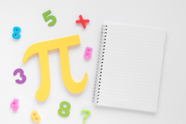 Flat lay math and science pi symbol and copy space notepad