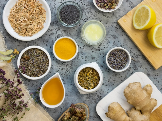 Flat lay of medicinal spices and herbs
