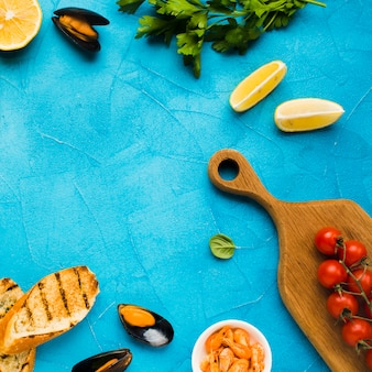 Flat-lay mediterranean diet with mussels