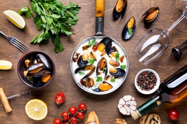 Flat-lay mediterranean diet with mussels