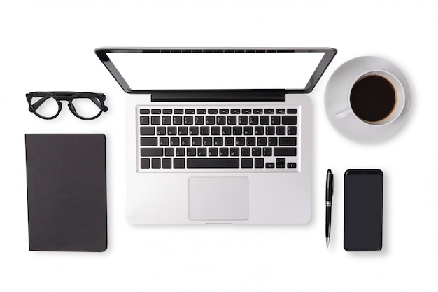 Flat lay of men device accessories in black tone color on office desk table