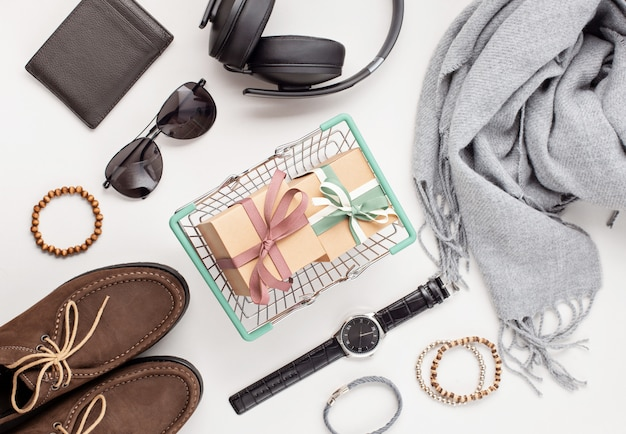 Flat lay of men's accessories