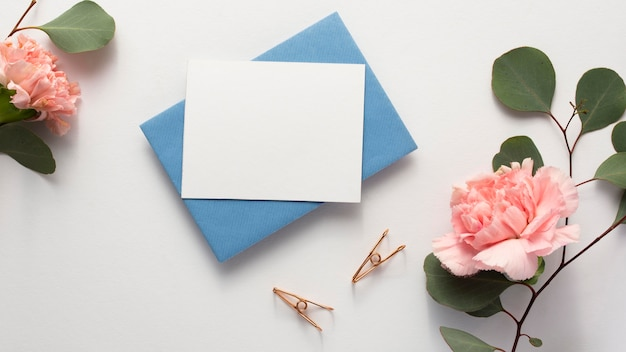 Flat lay minimal composition with spring stationery