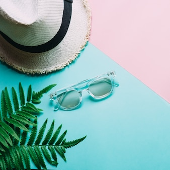Flat lay of minimal style hat with glasses and green plant