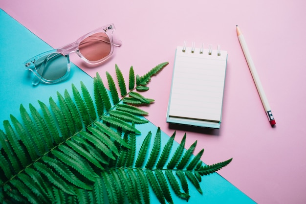 Flat lay of minimal workspace desk with notebook and green plant