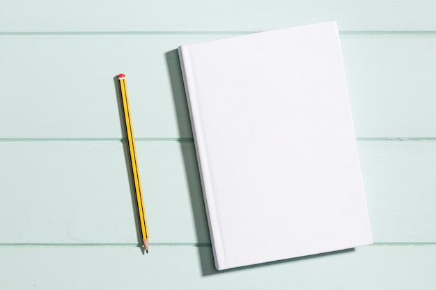Flat lay minimalist paper with pencil