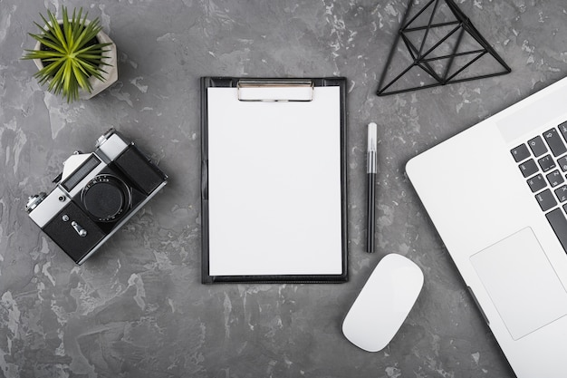 Flat lay minimalistic desk design