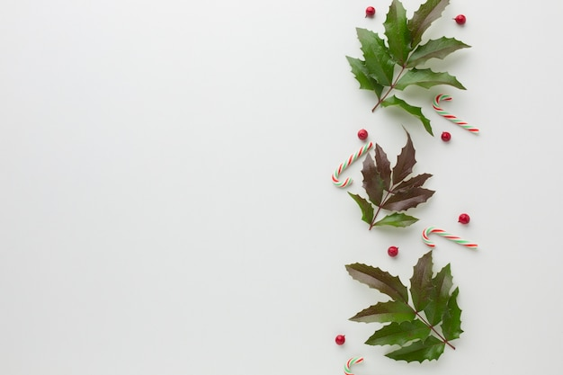 Flat lay mistletoe with candy cane