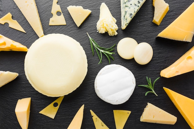 Flat lay mix of gourmet cheese