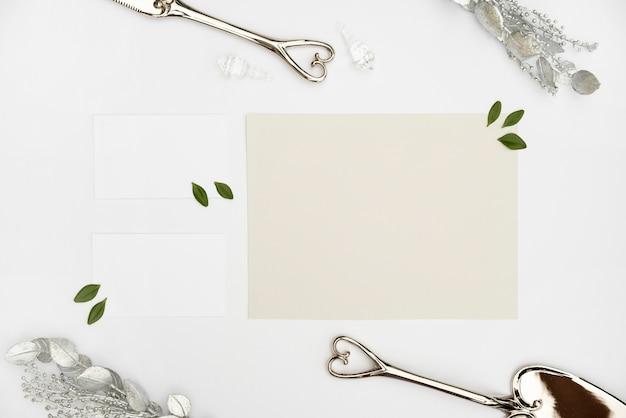 Flat lay mock-up wedding card
