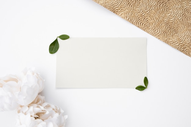 Flat lay mock-up wedding card