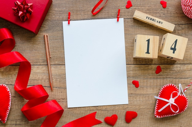 Flat lay mockup template blank paper for greeting card for valentine's day