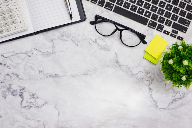 Flat-lay  mockup white office desk working space background