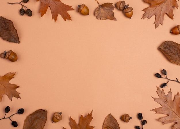 Lay piatto di selezione monocromatica del telaio di foglie