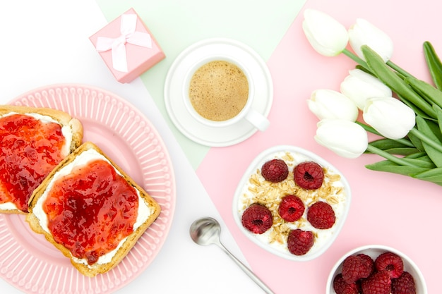 Flat lay of mother's day concept