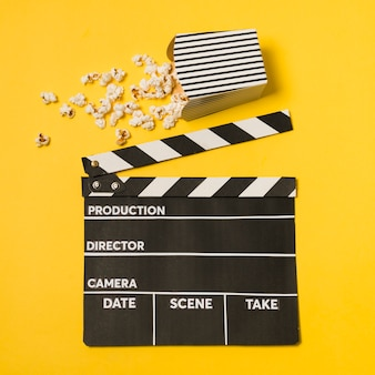 Flat lay movie slate