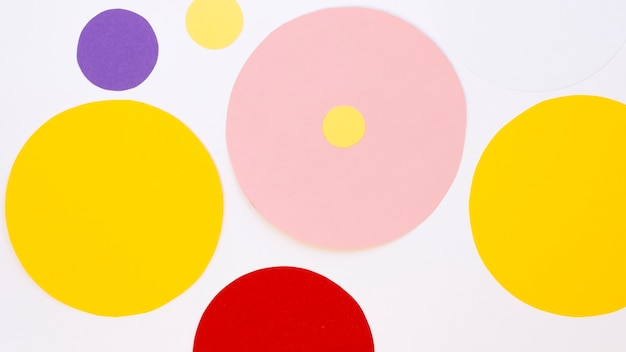 Flat lay of multicolored paper circles