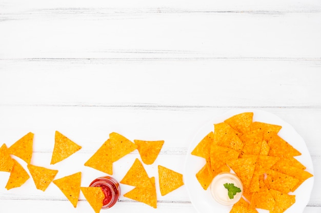 Flat lay of nachos with copyspace