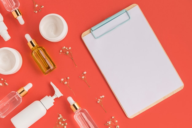 Flat lay of natural cosmetics with copy space