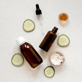Flat lay of natural essential oil bottle