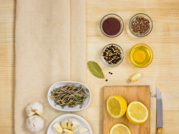 Flat lay of natural medicinal herbs