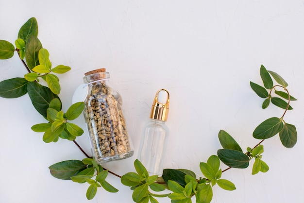 Flat lay natural medicine on a gray concrete background with green branch.